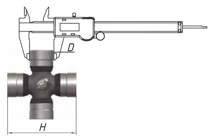 Визначення розміру хрестовини карданного валу; подбор кардана за розміром хрестовини